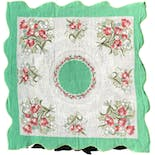 50's Green Floral Print Cotton Handkerchief