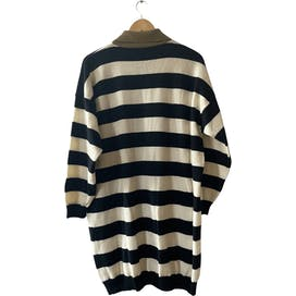 80's Black and White Stripe Button Down Sweater Dress by Expressly For Bloomingdale's