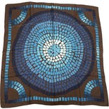 Teal And Brown Mosaic Print Silk Scarf by Louis Vuitton