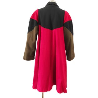 80's Color Blocked Wool Swing Coat by Otello Pelle