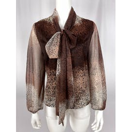 60's Brown Print Pussy Bow Blouse with Sheer Sleeves