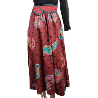 80's Bold Paisley Skirt with Quited Waistband by Jeanne Marc