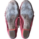 another view of 90's Red Woven Leather Sandal Slides by Emilio Pucci