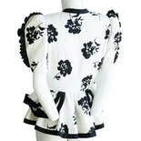 another view of White and Black Floral Peplum Detail Evening Blazer by Julie Duroché