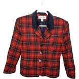 90's Tartan Plaid Velvet Collar Blazer by Jones New York