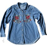 Christmas Embroidered Denim Shirt by Bobbie Brooks