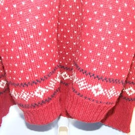 90's Red Alpaca Wool Fair Isle Sweater by Les Freres Ausoni