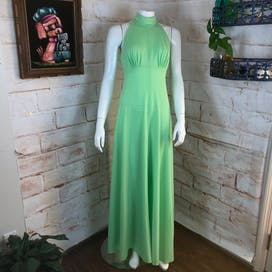 70's Lime Green Halter Maxi Dress and Hooded Jacket Set