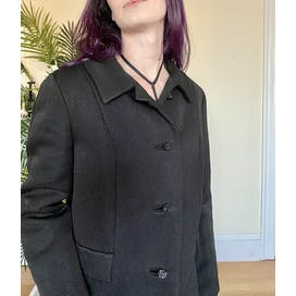 60's Black Structured Pea Coat by Sincerely Gidding Jenny
