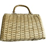 another view of Coated Woven Straw Handbag