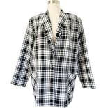 80's Black and White Lightweight Plaid Blazer by Graff Californiawear