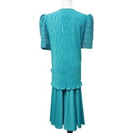 80's Teal Pleated Formal Midi Dress by After Dark