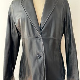 90's Black Leather Blazer Jacket by Wilson's Leather