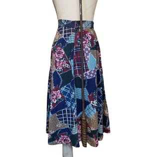 Button Down Cotton Patchwork Skirt by White Stag