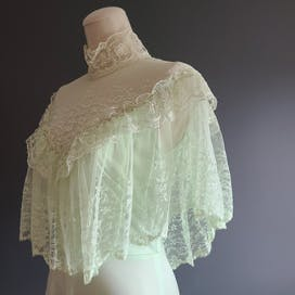 70's Prairie Style Pistachio Nylon and Lace Gown