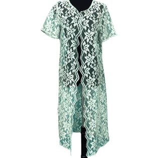 Green Floral Lace Evening Robe
