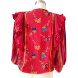 another view of 80's Mixed Floral Print Blouse by Diane Freis