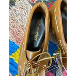 another view of 70's Deadstock Brown Boat Shoes by Wrangler