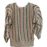 another view of Beige Knit Blue and Red Striped Knit Top by Organically Grown