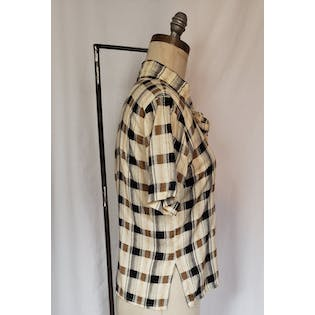 Plaid Short Sleeve Pussy Bow Blouse