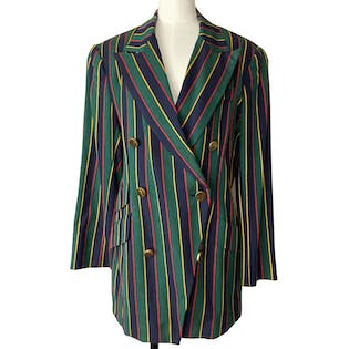 80's Double Breasted Striped Blazer by Jny