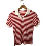 80's Red and White Stripe Rugby Collar Polo Shirt