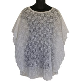 70's Swim Cover White Lace Drawstring Neckline