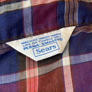 70's Plaid Ruffle Trim Collared Button Up Shirt by Sears