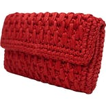 another view of 80's Red Rattan Clutch