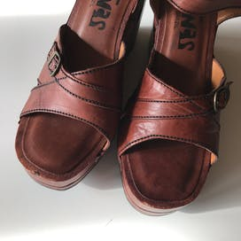 70's Brazilian Leather Wedge Heel Wooden Sandals by Latinas