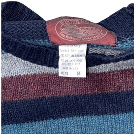 80's Multi Tone Blue and Maroon Striped Sweater by Winter Harbor