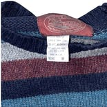 another view of 80's Multi Tone Blue and Maroon Striped Sweater by Winter Harbor