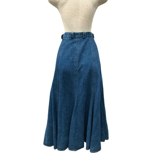 90's Pleated Cotton Denim Ankle Skirt by Liz Wear