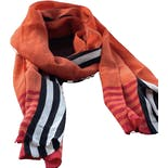 80's Black and Orange Silk Scarf