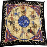 another view of Silk Circus Motif Scarf by Longchamp