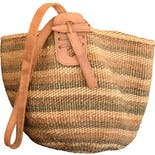 90's Sisal Woven Striped Straw Shoulder Cross Body Bag by Vintage