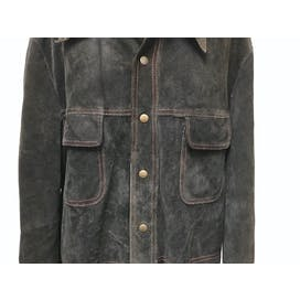 Black Suede Leather Jacket with Red Stitching by William Barry