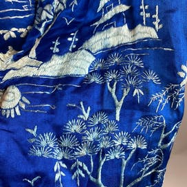 30's Blue Hand Embroidered Silk Bed Jacket Robe