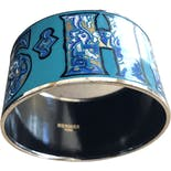 Hermes Enamel Wide Bangle Bracelet by Hermes