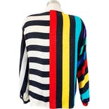 another view of 80's Silk Rainbow Stripe Long Sleeve Blouse by Adrianna Papell