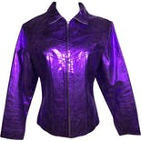 90's Metallic Purple Leather Jacket by Maxima By Wilsons