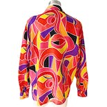 another view of 80's Abstract Print Silk Button Down Blouse by Rafaella
