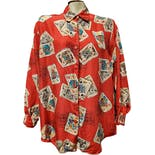 80's/90's Red with Cards Silk Blouse by Diane Von Furstenberg