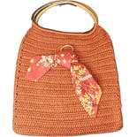 Orange Crocheted Wood Handle Bag