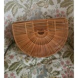 another view of 50's Bamboo Half Moon Bag by Handmade In Japan