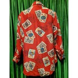 another view of 80's/90's Red with Cards Silk Blouse by Diane Von Furstenberg