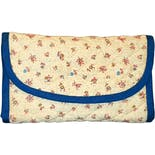 90's Cream and Blue Ditsy Floral Quilted Tri-Fold Wallet