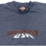 another view of 90's Embroidered Brand Blue Pinstriped T-Shirt by Harley Davison