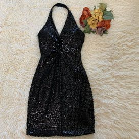 Black Halter Sequin Mini Dress by Fredricks Of Hollywood