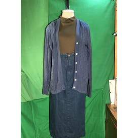 90's Silk Blue Tunic Cardigan Sweater by Norm Thompson